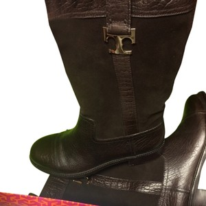 Tory Burch Winter Fall Leather Good Gold Cute Brown Boots