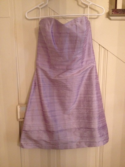 LulaKate Orchid Silk Pearl Neckline with The Straight Mini Skirt Feminine Bridesmaid/Mob Dress Size 2 (XS)