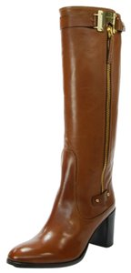 Luis Onofre Leather Gold Buckle Heeled Camel Boots