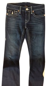 True Religion Trouser/Wide Leg Jeans-Dark Rinse