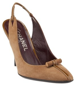 Chanel Slingback Suede Box Brown Pumps