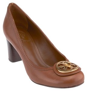 Tory Burch Almond Gold Hardware Logo Chunky Heel Medium Heels Brown Pumps