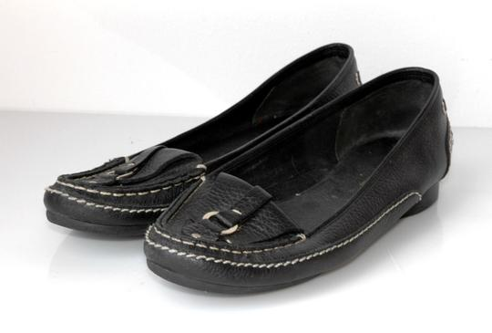 BCBGMAXAZRIA Leather White Stitching Office Loafers black Flats
