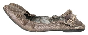 Matt Bernson Snakeskin Embossed Leather Elastic gray Flats