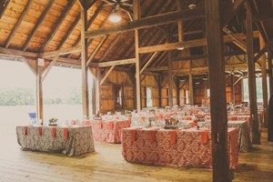 Coral and Gray Tablecloth