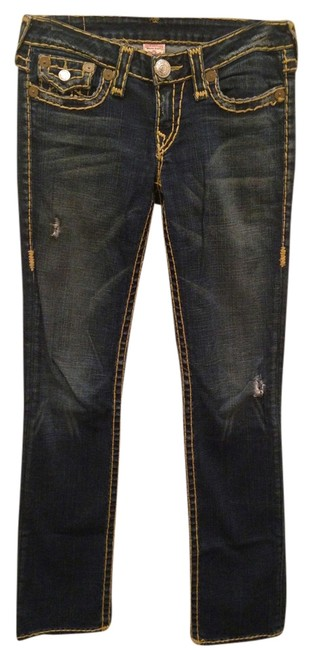 True Religion Dark Wash Dark Wash Contrast Stitching Straight Leg Jeans-Dark Rinse
