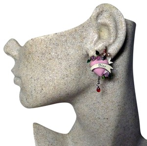 Dior Authentic Christian Dior Pink Bleeding Heart Dior Logo Rare Collector's Item Earrings