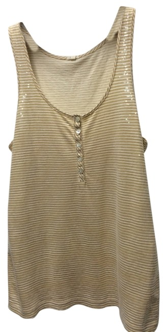 Item - Beige and White Tank Top/Cami Size 6 (S)