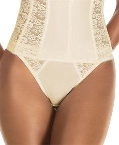 Dominique Dominique Lace Trimmed Thong Style 349 Ivory Size XL