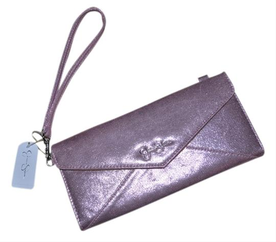 Jessica Simpson Envelope Evening Metallic Pink Clutch