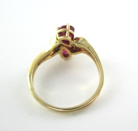 Other 14K SOLID YELLOW GOLD RING 2 RUBIES RUBY 4 GENUINE DIAMONDS WEDDING BAND SZ 8