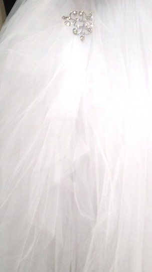 Pnina Tornai Pure White Tulle Formal Wedding Dress Size 12 (L)