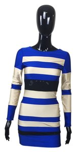 Blue Gold Stripes Dress