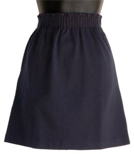 Tommy Hilfiger Pleated Waist Gold Zip Mini Skirt navy