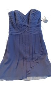 David's Bridal Marine (Navy Blue) Chiffon W Short W/ Cascade- Style F14847 Modern Bridesmaid/Mob Dress Size 4 (S)