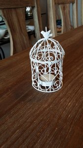 White Small Metal Bird Cages with Votive (9 Available) Reception Decoration