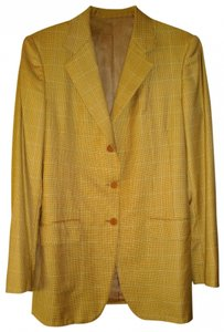 Paul Stewart beige/green small houndstooth Blazer