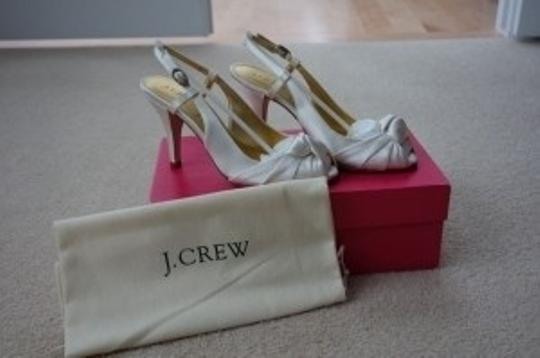 J.Crew Martine Satin Heels Peep Toe Slingbacks Wedding Ivory Formal