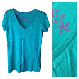 Nollie Casual V-neck Cotton T Shirt Aqua