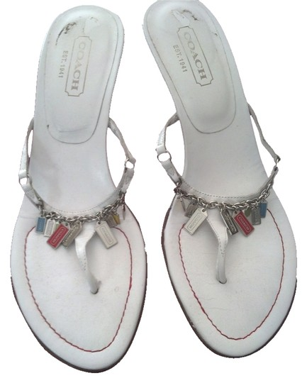 Coach Charm Chain Kitten Heel White Sandals