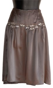Velvet by Graham & Spencer 100% Silk Jeweled Flowy Skirt gray