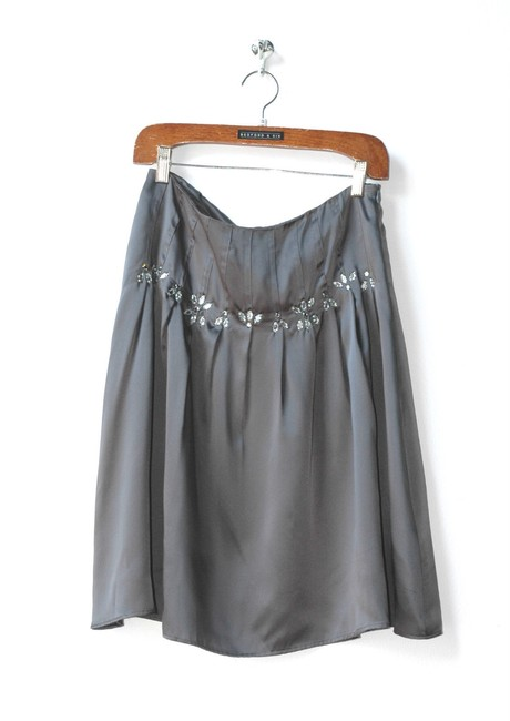 Velvet by Graham & Spencer Silk Jeweled Flowy Skirt gray