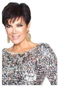 Kris Jenner Kollection Kardashian Rhinestones Sexy Green Sheer Celebrity Fashion Runway New Tory Burch Michael Kors Fendi Gucci Prada Ugg Button Down Shirt Phyton Print, Ivy, cream