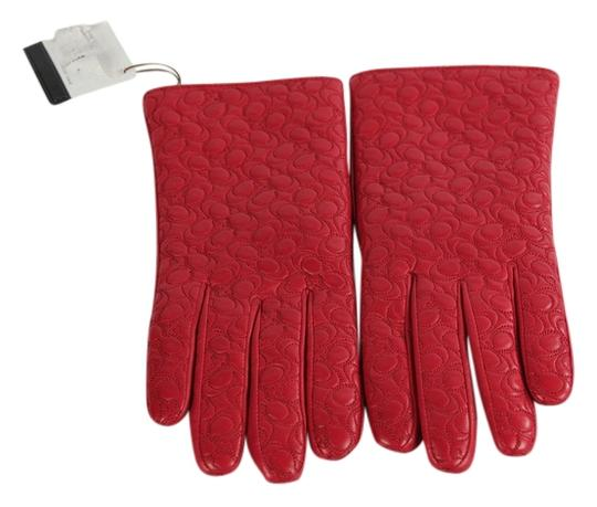 Coach * Coach Embossed C Leather Gloves - Red