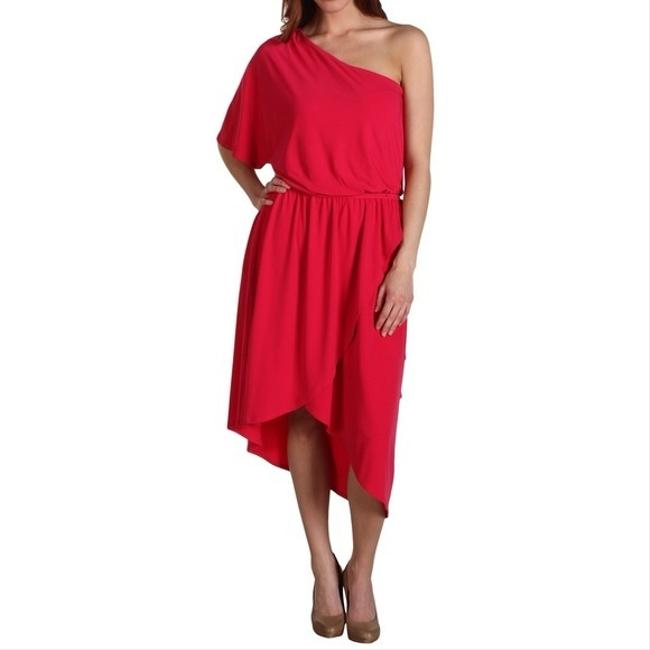 Max and Cleo One Shoulder High-low Belted Dress