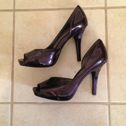 Jessica Simpson Peep Toe Stiletto Patent Hidden Platform Plum Pumps