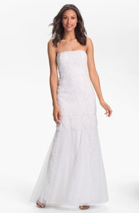 Adrianna Papell Ivory Polyester Strapless Rosette Mermaid Gown Casual Wedding Dress Size 10 (M)