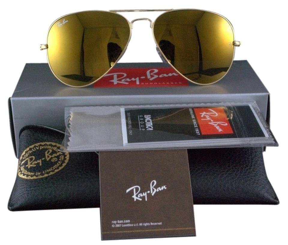 664aea2ceb Ray-Ban Authentic Ray-Ban Aviator Flash Sunglasses RB3025 W3276 Gold Mirror  Lens With ...