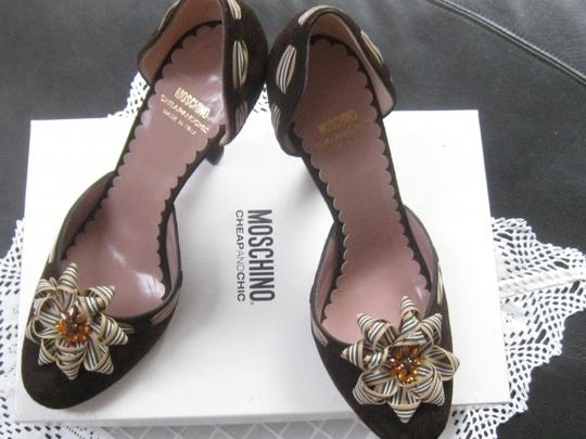 MOSCHINO Cheapandchic Made in Italy Brown Suede Pumps