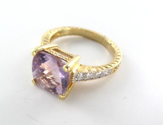 Other 14K SOLID YELLOW GOLD RING 8 DIAMONDS .25 CARAT SZ 7 PURPLE STONE WEDDING BAND