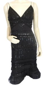 Carolina Herrera Ruffle Beaded Sequin Dress