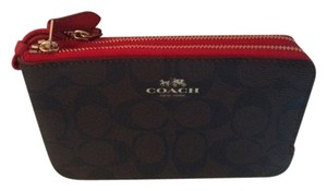 Coach NWT Coach Wristlet Dk Brown w/Red Accent & Double Zipper Compartments