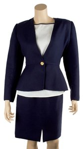 Oscar de la Renta Oscar de la Renta Blue Wool Three Piece Skirt Suit, Size 4 (40675)