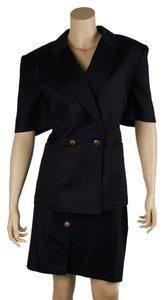 Escada Escada Navy Blue 100% Cotton Skirt Suit, Size 44 (42228)
