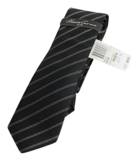 Kenneth Cole Kenneth Cole Tonal Textured Strip Neck Tie - Black/White