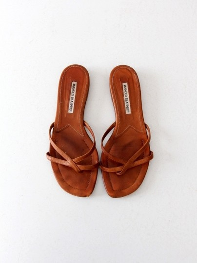 Manolo Blahnik Strappy Leather Brown Sandals