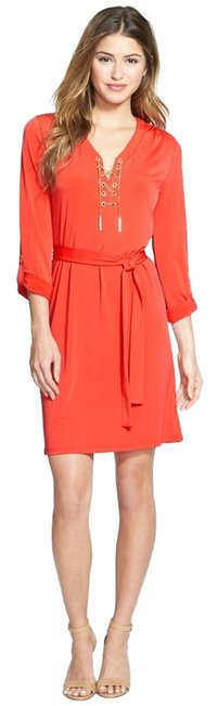 Preload https://item5.tradesy.com/images/michael-kors-orange-print-chain-lace-up-shirtdress-above-knee-short-casual-dress-size-4-s-4083964-0-0.jpg?width=400&height=650