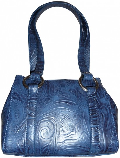 Preload https://img-static.tradesy.com/item/408413/nine-west-faux-embossed-floral-small-faux-design-like-new-blue-manmade-leather-baguette-0-0-540-540.jpg