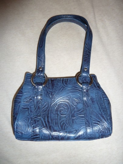 Nine West Faux Leather Embossed Floral Small Faux Leather Design Like New Baguette
