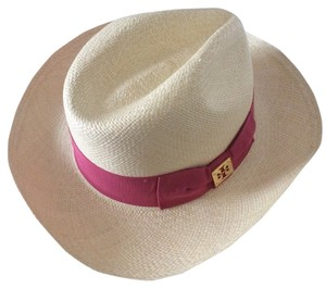 445c45ac0ce68 Tory Burch Pink with White Tan Classic Grosgrain Fedora Hat - Tradesy