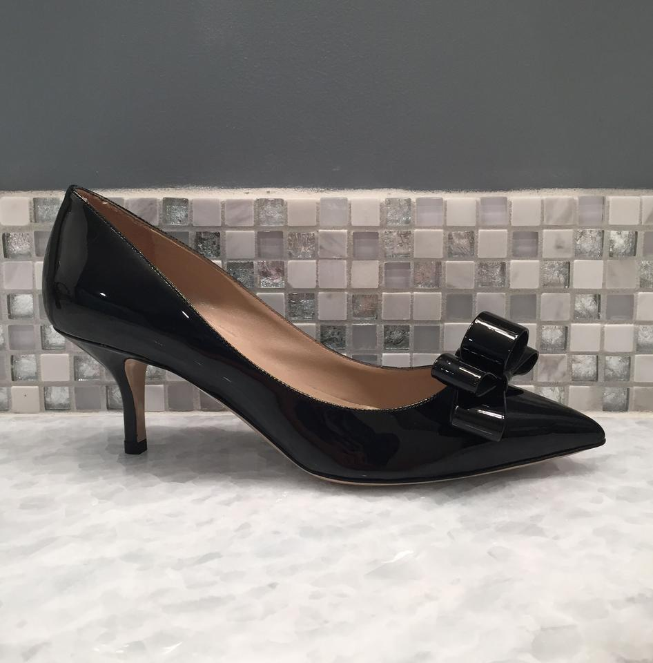 2770e2042e7 Valentino Black Couture Patent Leather Kitten Heel Bow Pumps Size US ...