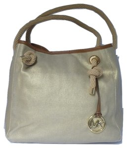 40a183f86c29 Michael Kors Canvas Hardware Logo Tote in Gold