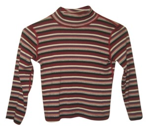 Three Dots Turtleneck Stripes T Shirt Red