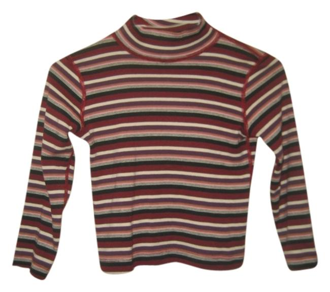 Three Dots Turtleneck Stripes Longsleeve T Shirt Red