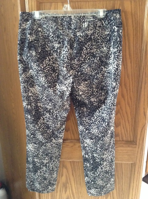Ann Taylor LOFT 97% Cotton 3% Spandex Straight Pants Black with grey and tan