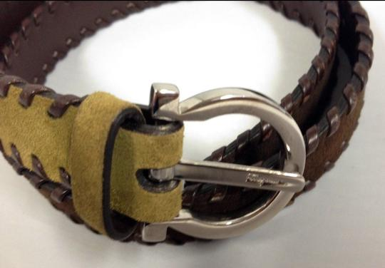 "Salvatore Ferragamo SALVATORE FERRAGAMO ""GARCINI"" LEATHER SUEDE BELT OLIVE GREEN BROWN SMALL SIGNED"